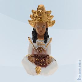 Imagem de Deus Hindu com roupa branca em resina