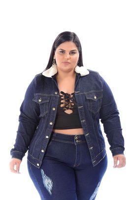 Jaqueta Feminina Jeans Plus Size com Gola De Pelo Xtracharmy