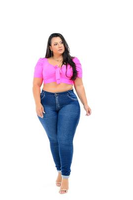 Calça Feminina Jeans Skinny Plus Size Cintura Alta Com Barra virada Xtracharmy