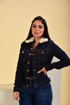 Jaqueta Feminina Jeans Amaciada Com Gola de Pelo Removível W.Pink
