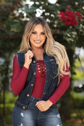 Colete Feminino Jeans Amaciado com Lycra