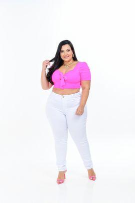 Calça Feminina Sarja Branca Skinny Plus Size Cintura Média