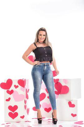 Calça Feminina Jeans Skinny com Cinta Modeladora W.Pink