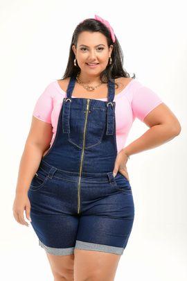 Macaquinho Feminino Jeans Plus Size Cintura Média Detalhe Zíper Frontal Xtracharmy