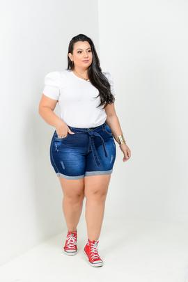 Shorts Feminina Jeans Meia Coxa Cintura Alta