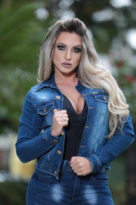 Jaqueta Jeans Feminina Bordada com Lycra W.Pink