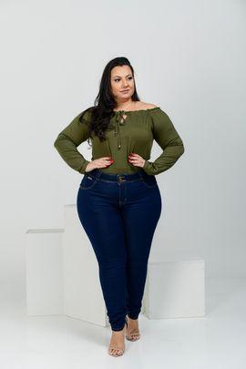 Calça Feminina Jeans Skinny Plus Size Amaciada  Cintura Média
