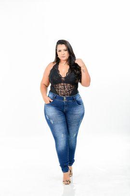 Calça Feminina Jeans Skinny Plus Size Cintura Alta Xtracharmy