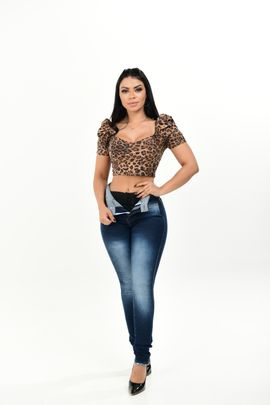 Calça Feminina Jeans Skinny Hot Pants Com Cinta Modeladora