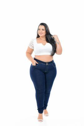 Calça Feminina Jeans Cigarrete Plus Size Cintura Média Carbono