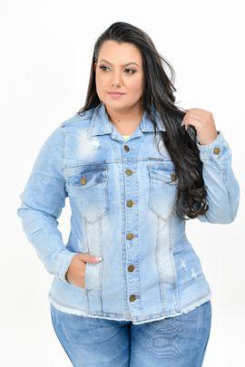 Max Jaqueta Feminina Jeans Plus Size Com Lycra Delavê