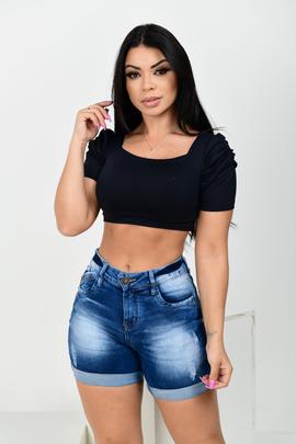 Shorts Feminino Jeans Meia Coxa Barra Virada