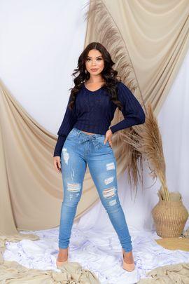 Calça Feminina Jeans Skinny Rasgada Detalhe Cinto Jeans Delavê