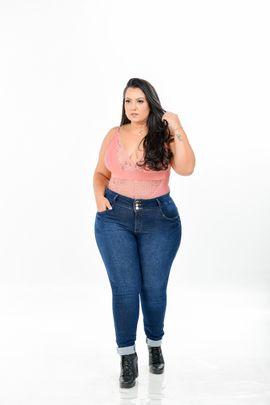 Calça Feminina Skinny Jeans Plus Size Cintura Alta Detalhe Elástico Cós Traseiro Xtracharmy