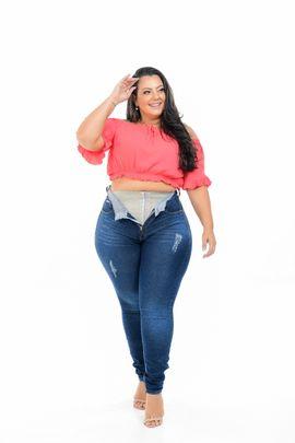 Calça Feminina Jeans Plus Size Com Cinta Modeladora Cintura Média Xtracharmy