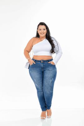 Calça Feminina Jeans Skinny Cintura Média Xtracharmy