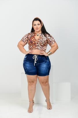 Shorts Feminino Jeans Cintura Alta