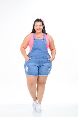 Jardineira Feminina Jeans Plus Size Cintura Alta Xtracharmy