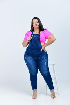 Macacão Feminino Jeans Plus Size Cintura Alta Xtracharmy