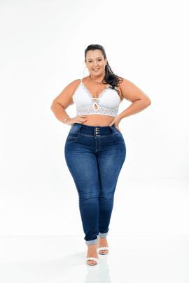 Calça Feminina Jeans Skinny Plus Size Cintura Média Xtracharmy
