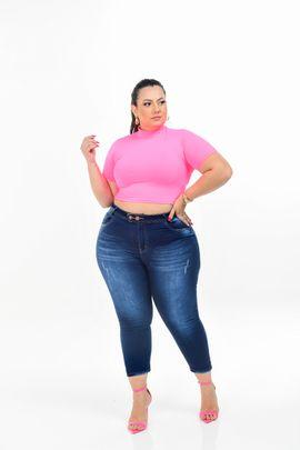 Cropped Feminina Jeans Plus Size Cintura Alta Dois Botões