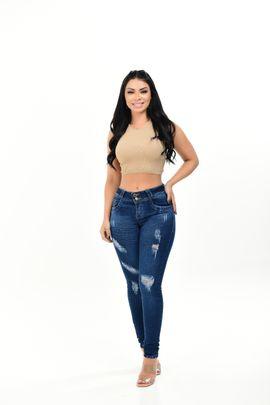 Calça Feminina Jeans Skinny Rasgo Frontal Detalhe Bolso Traseiro Bordado