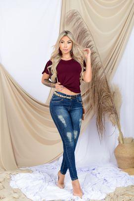 Calça Feminina Jeans Cigarrete Detalhe Devorê Frontal