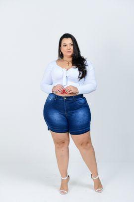 Shorts Feminino Jeans Cintura Alta Plus Size  Barra Desfiada