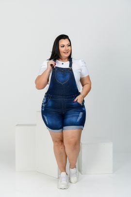 Jardineira Feminina Jeans Plus Size Cintura Alta Com Lycra