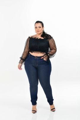 Calça Feminina Jeans Skinny Plus Size Cintura Alta Detalhe Bordado no Cós