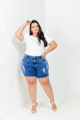 Shorts Feminino Jeans Meia Coxa Cintura Alta