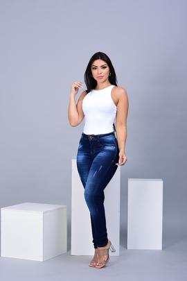 Calça Feminina Jeans SkinnyGde com Puído