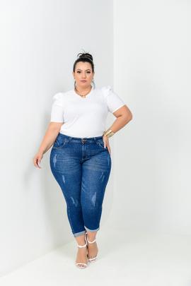 Calça Feminina Jeans Plus Size Cropped Cintura Alta
