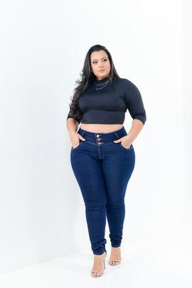 Calça Feminina Jeans Skinny Plus Size Cintura  Alta Detalhe Elástico no Cós