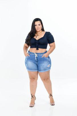 Shorts Feminino Jeans  Plus Size Cintura Alta Detalhe Cinto Cordão Na Cintura