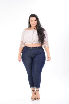 Calça Feminina Jeans Cropped Plus Size Cintura Média Xtracharmy