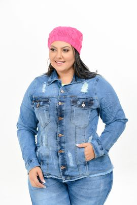 Max Jaqueta Feminina Jeans Plus Size Com Lycra Lavagem Sky