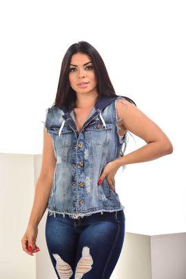 Max Colete Feminino Jeans Com Touca De Moletom Azul Marinho