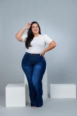 Calça Feminina Jeans Flare Plus Size Cintura Alta