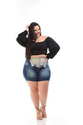 Shorts Feminino Jeans Meia Coxa Plus Size Cintura Média Com Cinta Modeladora Xtracharmy