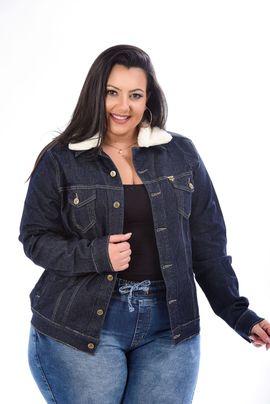 Jaqueta Feminina Jeans Plus Size Amaciada Com Gola De Pelo Removível