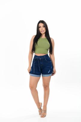 Shorts Feminino Jeans Meia Coxa Com Cinto