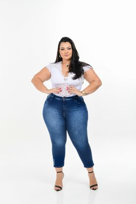 Cropped Feminina Jeans Plus Size Cintura Média