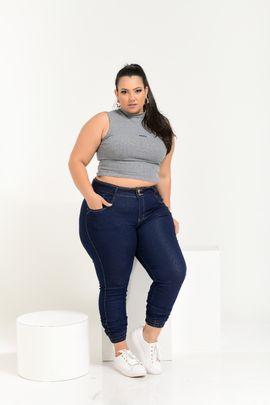 Calça Feminina Jeans Cintura Alta Detalhe Elástico na Barra Xtracharmy