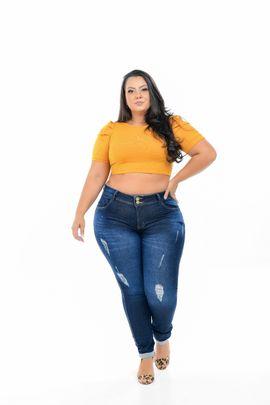 Calça Feminina Jeans Cigarrete Plus Size Cintura Alta Detalhe Rasgo Devorê Frontal Xtracharmy