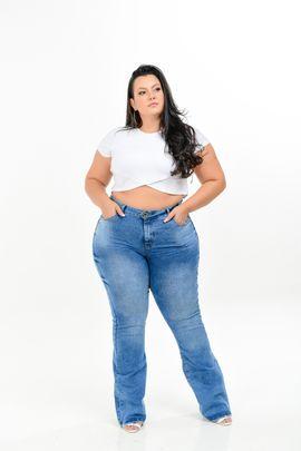Calça Feminina Jeans Flare Cintura Média