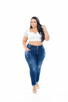 Calça Feminina Jeans Cigarrete Plus Size Cintura Média Três Botões