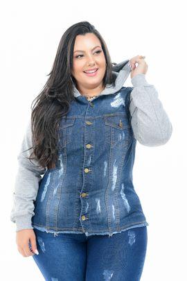 Max Jaqueta Feminina Jeans Plus Size Lycra  Com Manga de Moletom