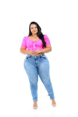 Calça Feminina Jeans Skinny Plus Size Cintura Alta Lavagem Sky