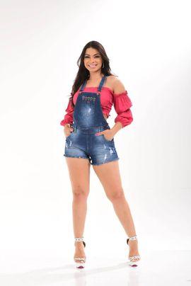 Macaquinho Feminino Jeans Detalhe Bordado W.Pink